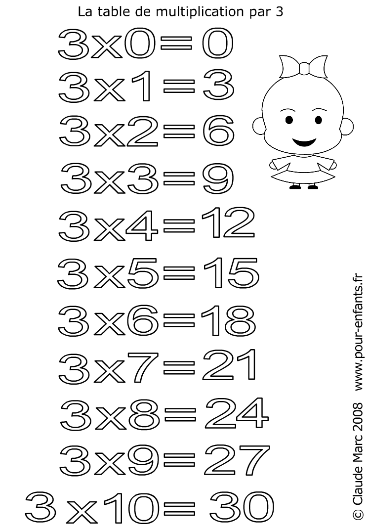 Multiplications pour enfants fr coloriages table de for Table multiplication 3