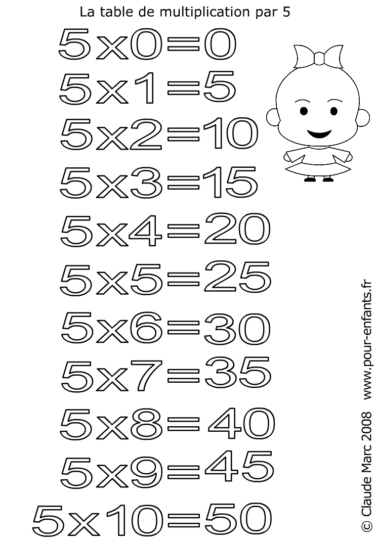 Coloriage a imprimer table de multiplication for Table de multiplication 5