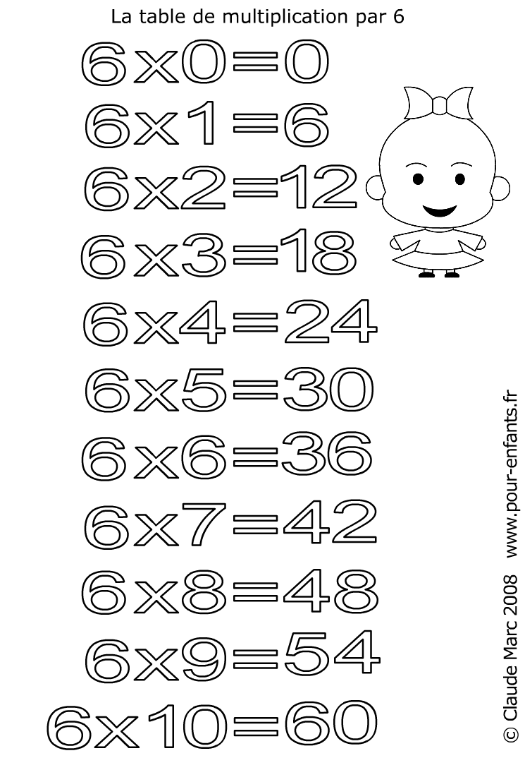 Coloriages des tables de multiplications imprimer et for La table de 6 multiplication