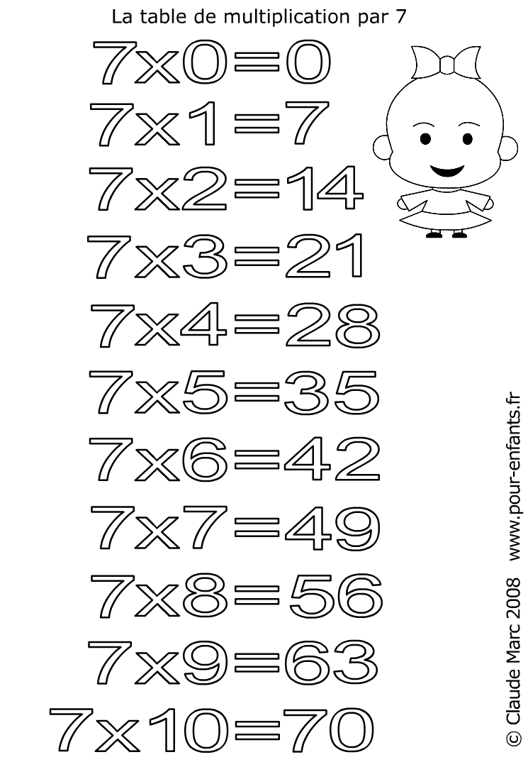 Coloriages des tables de multiplications imprimer et for Table de multiplication de 7 jeux