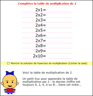 Multiplication tables de multiplications de 1 2 3 4 5 6 for Exercice table de multiplication cm1